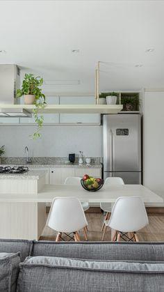 Small Apartment Design, Home Office Design, Kitchen Room Design, Kitchen Interior, Modern Windows And Doors, Dinner Room, White Kitchen Decor, Contemporary Kitchen Design, Minimalist Kitchen