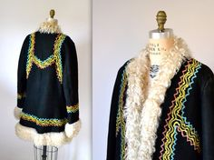 Vintage Embroidered Shearling Jacket Size Medium Large// Vintage 70s Shearling Coat Suede Leather Fur Embroidered Jacket Hippie Boho Medium  $575.00