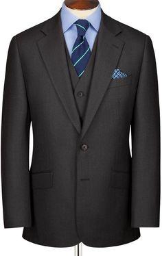 Charcoal Burlington birdseye half canvas Classic fit suit jacket