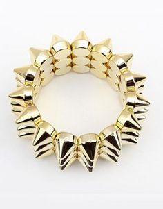 Solid Gold Punk Rivet Bracelet #sheinside