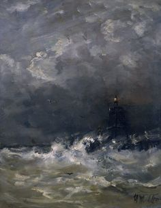 Lighthouse in the Surf - Hendrik Willem Mesdag 1860-1907 Dutch 1831-1915 Oil on panel, 52 × 40 cm (20.5 × 15.7 in) Rijksmuseum Amsterdam