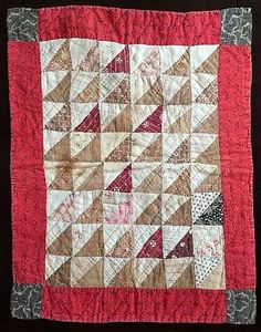 Early 1900's Doll Quilt, Pyramid Pattern, 20 x15 inches.