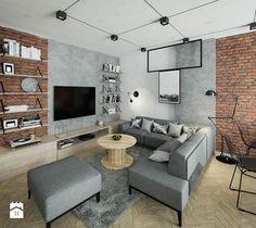 """""""cegła górą"""" - Salon, styl industrialny - zdjęcie od KOLORUM"""