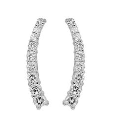 0.25 Carat (Ctw) 14K White Gold Round White Diamond Ladies Crawler Climber Earrings 1/4 CT ** Find out @ http://www.amazon.com/gp/product/B015OC29AM/?tag=ilikeboutique09-20&op=190716022458