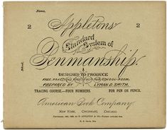 front cover of an Appleton's Standard System of Penmanship booklet that was published by the American Book Company in the late 1800's.