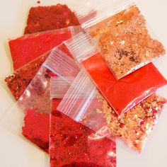 Copper Penny, Glitter Crafts, Loose Glitter, Glitter Nail Polish, Aesthetic Makeup, Red Apple, Paper Decorations, Coral, Crystals