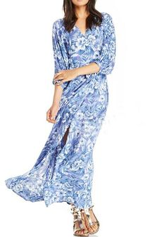 Blue Floral Print Sashes Slits Chiffon Dress