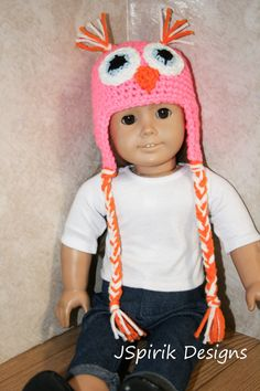 Pattern Directions for making a Crochet Pink Owl Earflap Hat for American Girl Type Dolls PDF Pattern Instant Download