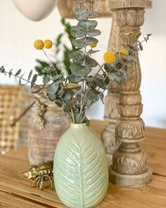 Preserved Eucalyptus and Yellow Billy Balls (Craspedia) in a vase make a cute natural display for your fireplace mantle or console table. ⁣ ⁣ #driedflowers #driedplants #flowerlovers #homedecor #driedflowerdesign #floraldesign #flowerarrangement #diyhomedecor #diycrafts #flowers #billyballs #eucalyptus #livingroomdecor #livingroominspo