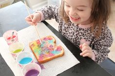 Brilliant!!! milk+food colouring have kids paint their toast, pop in toaster, butter and serve!