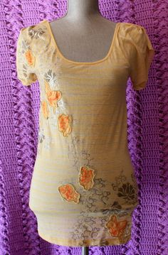Free People Yellow Blouse/Top S Floral Embroidery Short Sleeves Cotton Blend