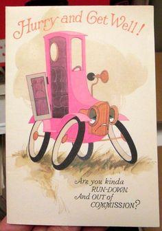Vtg 1975 American Greetings Get Well Card antique pink cartoon car quad fold NEW