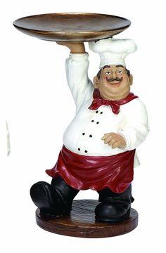 Chef with Tray Figurine Bistro Kitchen Decor, Fat Chef Kitchen Decor, Boho Kitchen, Kitchen Decor Themes, Kitchen Art, Rustic Kitchen, French Kitchen, Organize Life, Chef Pictures