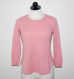Anthropologie Sparrow 100% Cashmere Salmon Pink Crewneck Sweater XS #SparrowforAnthropologie #Crewneck