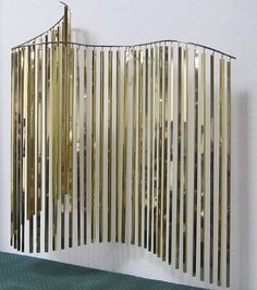 Undulating Brass Curtain Sculpture by C. Jere | From a unique collection of antique and modern decorative art at https://www.1stdibs.com/furniture/wall-decorations/decorative-art/