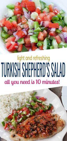 Turkish Shepherd's Salad Veggie Recipes, New Recipes, Salad Recipes, Cooking Recipes, Healthy Recipes, Drink Recipes, Healthy Meals, Turkish Recipes, Ethnic Recipes