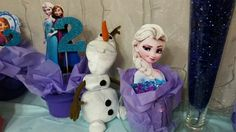 Frozen Party. Homemade centerpieces and Olaf stuffed toy