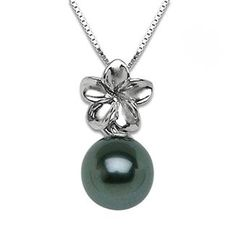 Tahitian Black Pearl Necklace in 14K White Gold (8-9mm)