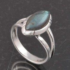 BLUE FIRE LABRADORITE 925 SOLID STERLING SILVER FASHION RING 3.70g DJR6389 #Handmade #Ring