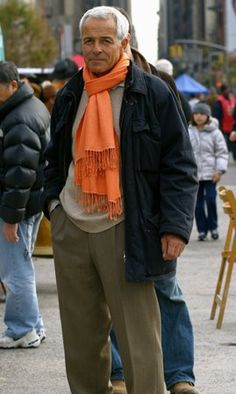 The orange scarf makes the look!  I wished my husband would dress like this!