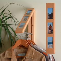 What a clever idea.Clothes Hanging System Insert your favorite images to compliment the practical clothes storage convenience of Rebrilliant in solid wood''. Create instant hanging/drying space with this unique space saving fold-away rod. Closet Shelf Dividers, Closet Storage, Storage Organization, Tent Storage, Space Saving Storage, Hidden Storage, Foyers, Hanging Closet, Multipurpose Room
