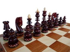 Unique Handmade Wooden Chess Set, Marquetry, Gift Idea by StylishChess on Etsy https://www.etsy.com/listing/224590740/unique-handmade-wooden-chess-set