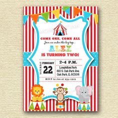 Circus Big Top Birthday Party Invitation PRINTABLE by MommiesInk, $12.50
