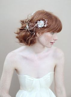 Bridal hair flowers silk flowers  Double flower by myrakim on Etsy, $195.00 .... I love that this has chain, too ....
