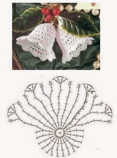 Doily filet crochet Christmas bells with graph Crochet Diagram, Crochet Chart, Crochet Motif, Crochet Designs, Crochet Flowers, Crochet Lace, Crochet Snowflake Pattern, Christmas Crochet Patterns, Holiday Crochet