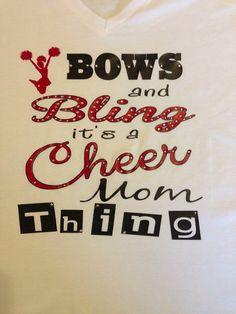 Bows & Bling Cheer/Cheer Mom T-Shirt via Etsy