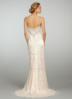 Sherbet silk crepe satin A-lin bridal gown with silver embroidered overlay, jeweled empire bodice with crystal shoulder straps, sweep train. Lazaro.
