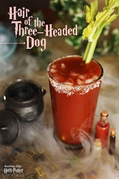 """Our themed Harry Potter cocktail """"Hair of the Three-Headed Dog"""" is a Bloody Mary with a twist. A perfect drink for tequila lovers at Halloween parties! Deco Harry Potter, Harry Potter Food, Harry Potter Wedding, Fun Cocktails, Cocktail Drinks, Fun Drinks, Beverages, Cocktail Recipes, Drink Recipes"""