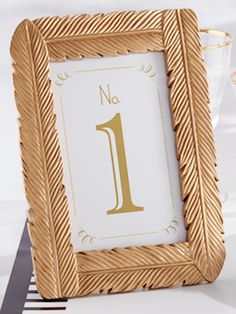 Gold feather table number