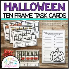 Halloween Ten Frame Task Cards Making Ten With  Halloween Friends Center