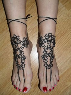 Tatted Victorian Ankle Corsets pair Tatting by carmentatting