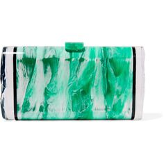 Edie Parker Lara acrylic box clutch (£414) ❤ liked on Polyvore featuring bags, handbags, clutches, green, green clutches, hard clutch, acrylic clutches, green purse and acrylic purse