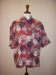 Bill Blass Silk Burgandy Navy Hibiscus Aloha Tiki Hawaiian Shirt Medium