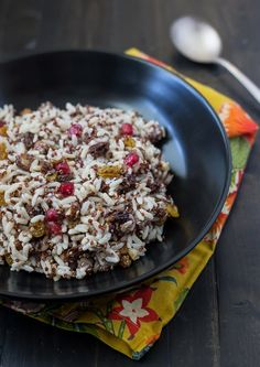 Coconut Rice with California Raisins, Pomegranate and Hazelnuts