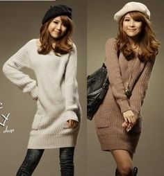 Women's Crew Neck Pocket Long Sweater on Buytrends.com, only price $17.19