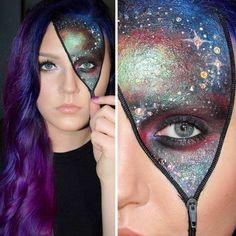 open zipper galaxy face paint