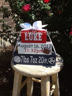 Baby Announcement Block set by ScrapCrazyDesigns on Etsy, $22.00