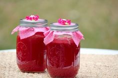 Watermelon Jelly 6 cups of watermelon juice 5 cups of white sugar 7 Tablespoons of lemon juice (bottled is better because you don't get the extra pulp) 2 packets of liquid pectin