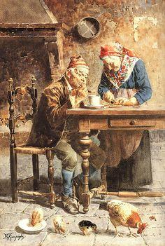 Eugenio Zampighi (1859-1944) - prima colazione    EUGENIO ZAMPIGHI (Modena, 1859 – Maranello, 1944)   #TuscanyAgriturismoGiratola