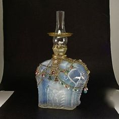 1920s M. Model Opal Glass Oil Lamp / Elephant