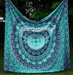 Queen Elephant Mandala Tapestry Bed Sheet Bohemian by StarGazerHip