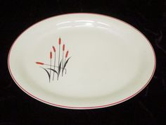 "Large Vintage Serving Platter CATTAIL Red & Black Sears Roebuck 13.5"" Oval  #SearsRobuckCO"