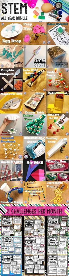you tried a STEM Challenge yet? Let me make it easy on you with STEM Challenges for the ENTIRE YEAR for Elementary Students! 3 Engaging activities with detailed lesson plans per month! Elementary Science, Middle School Science, Teaching Science, Primary Science, Physical Science, Elementary Education, Steam Activities, Science Activities, Science Ideas