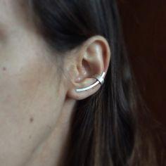 Pin plata oído, trepador de la oreja de plata, plata pun ¢ o de la oreja, pendiente minimalista
