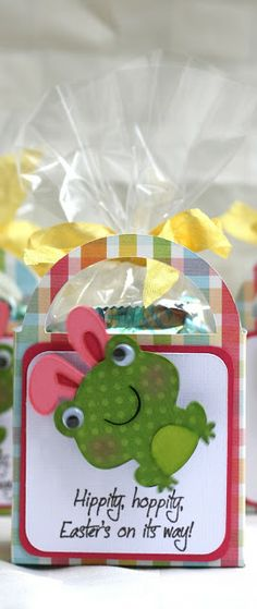 """Rock Paper Cricut: Create A Critter 2 Frog 1.75"""", ears 1.82"""". Box Slumber Party 2.75"""", white layer 2.75"""" but would also be cute card instead of treat box.  Put on action wobble."""
