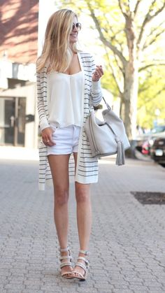 summer outfit ideas - striped duster cardigan with white shorts White  Shorts Outfit Summer 6acae766b